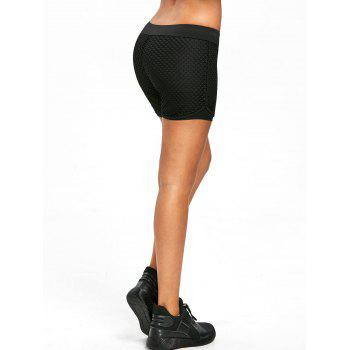 Elastic Mid Waist Exercise Training Shorts - BLACK M