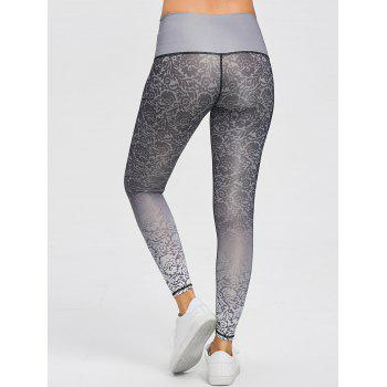 Brocade Print Ombre Sports Tights Leggings - GREY/WHITE 2XL