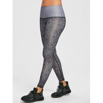 Brocade Print Performance Tights Leggings - GREY S