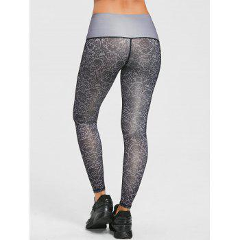 Legging Collant Performance à Imprimé Brocart - GRIS M
