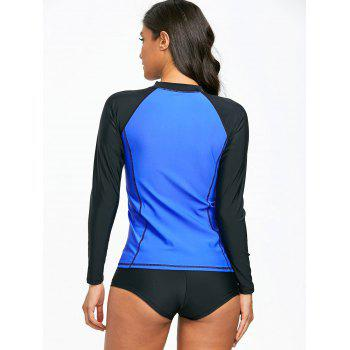 Two Tone Long Sleeve Surf Swim Top - BLUE L