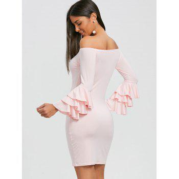 Layered Sleeve Off The Shoulder Mini Dress - SHALLOW PINK M