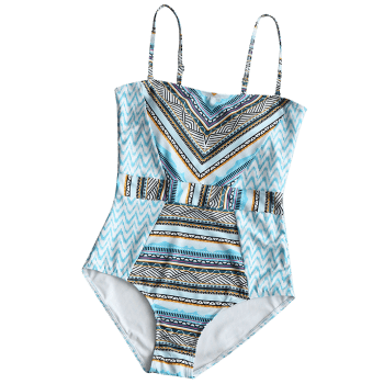 Zig Zag Printed One Piece Swimsuit - COLORMIX M