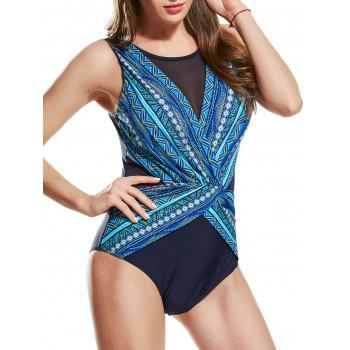 Mesh Insert One Piece Printed Swimsuit - GREEN XS
