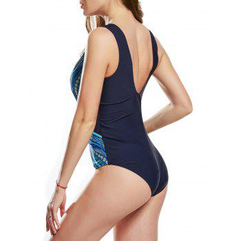 Mesh Insert One Piece Printed Swimsuit - GREEN L