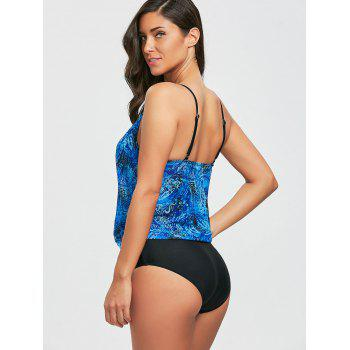 Mesh Low Cut Printed One Piece Swimsuit - BLUE L