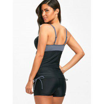 Two Tone Boyshort Moulded Underwire Tankini - BLACK 2XL