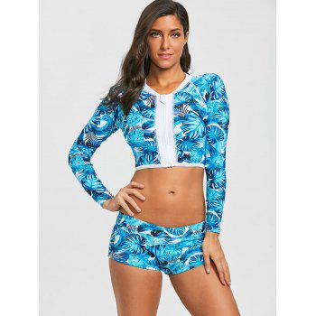 Long Sleeves Zip Leaves Print Sporty Swimsuit - LAKE BLUE 2XL