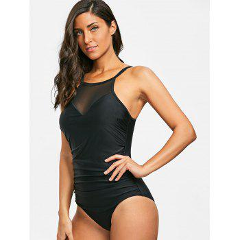 Ruched High Neck One Piece Swimsuit - BLACK L