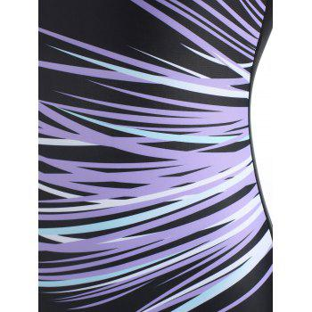 Racerback Cut Out U Neck Swimsuit - PURPLE L