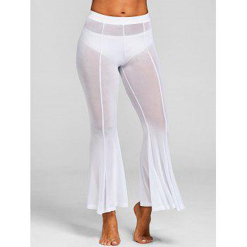 See Through Long Cover-up Pants - WHITE S