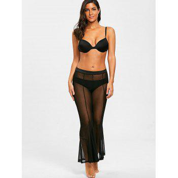 See Through Long Cover-up Pants - BLACK L