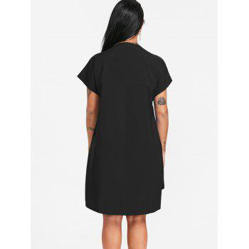 Plunging Neck Slit Shirt Dress - BLACK M