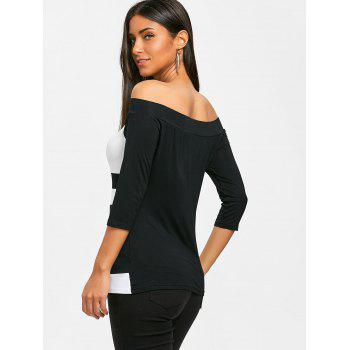Two Tone Off Shoulder T-shirt - WHITE/BLACK 2XL