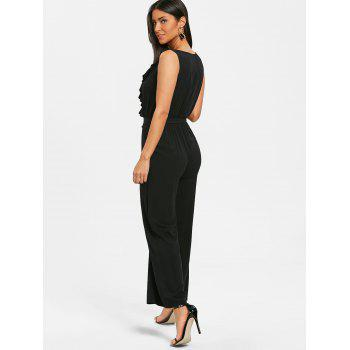 Plunge Ruffled Wide Leg Jumpsuit - BLACK 2XL