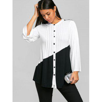 Pleated Color Block Long Sleeve Blouse - WHITE/BLACK L