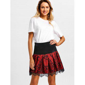 High Rise Lace Insert Mini A Line Skirt - BLACK M