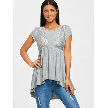 High Low Smock Top - GRAY M