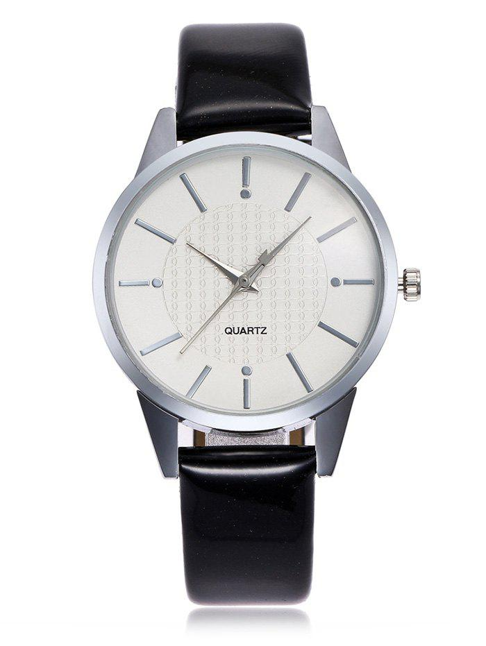 Minimalist Faux Leather Band Analog Watch - BLACK