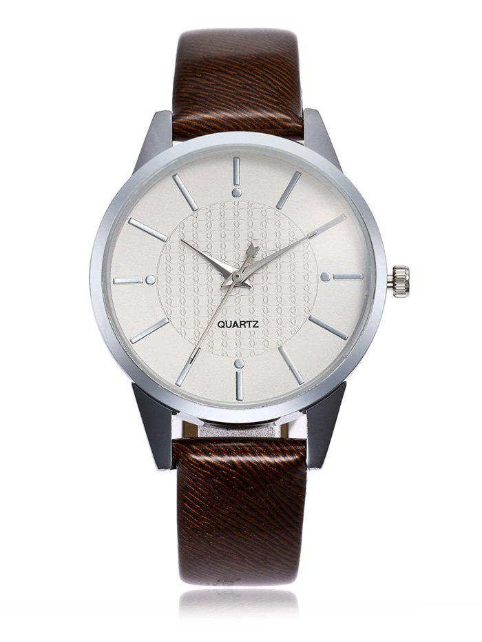 Minimalist Faux Leather Band Analog Watch - BROWN