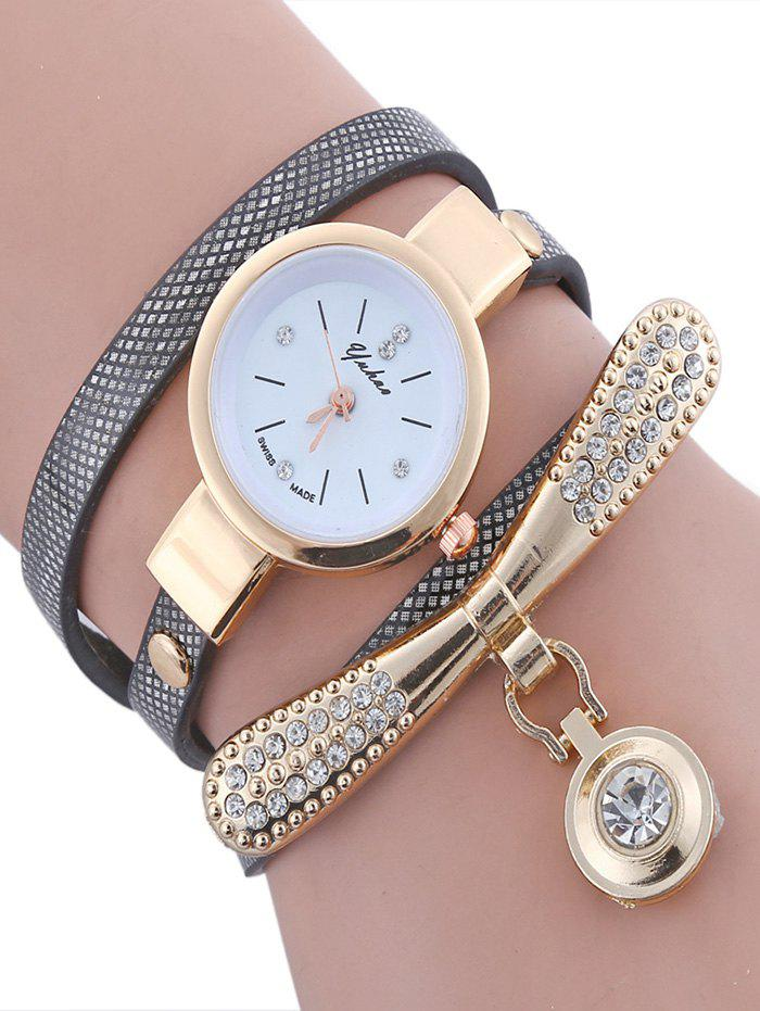 Rhinestone Bowknot  Faux Leather Wrap Bracelet Round Watch - BLACK