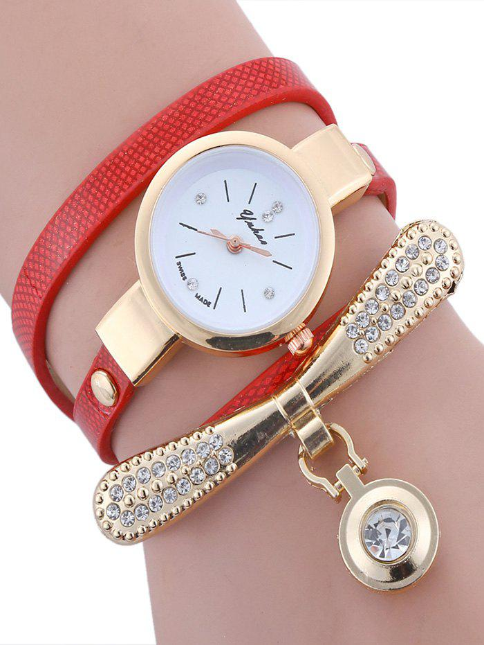 Rhinestone Bowknot  Faux Leather Wrap Bracelet Round Watch - RED