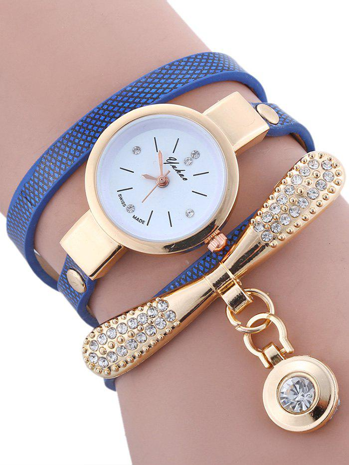Rhinestone Bowknot  Faux Leather Wrap Bracelet Round Watch - BLUE