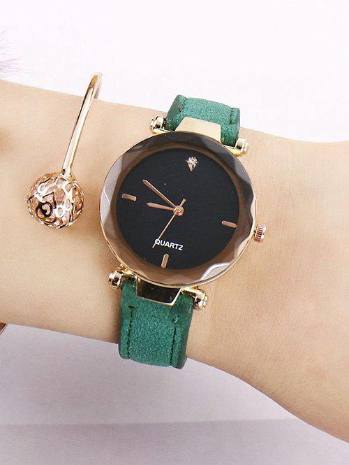 Faux Leather Band Rhinestone Embellished Simple Analog Watch - GREEN