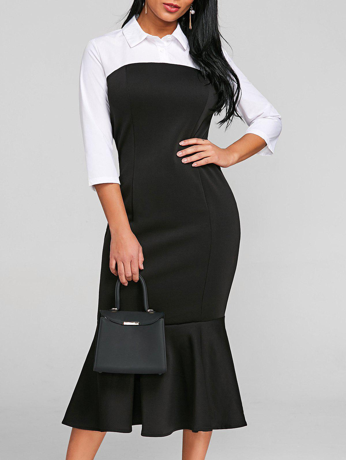 Two Tone Shirt Collar Mermaid Dress - BLACK 2XL