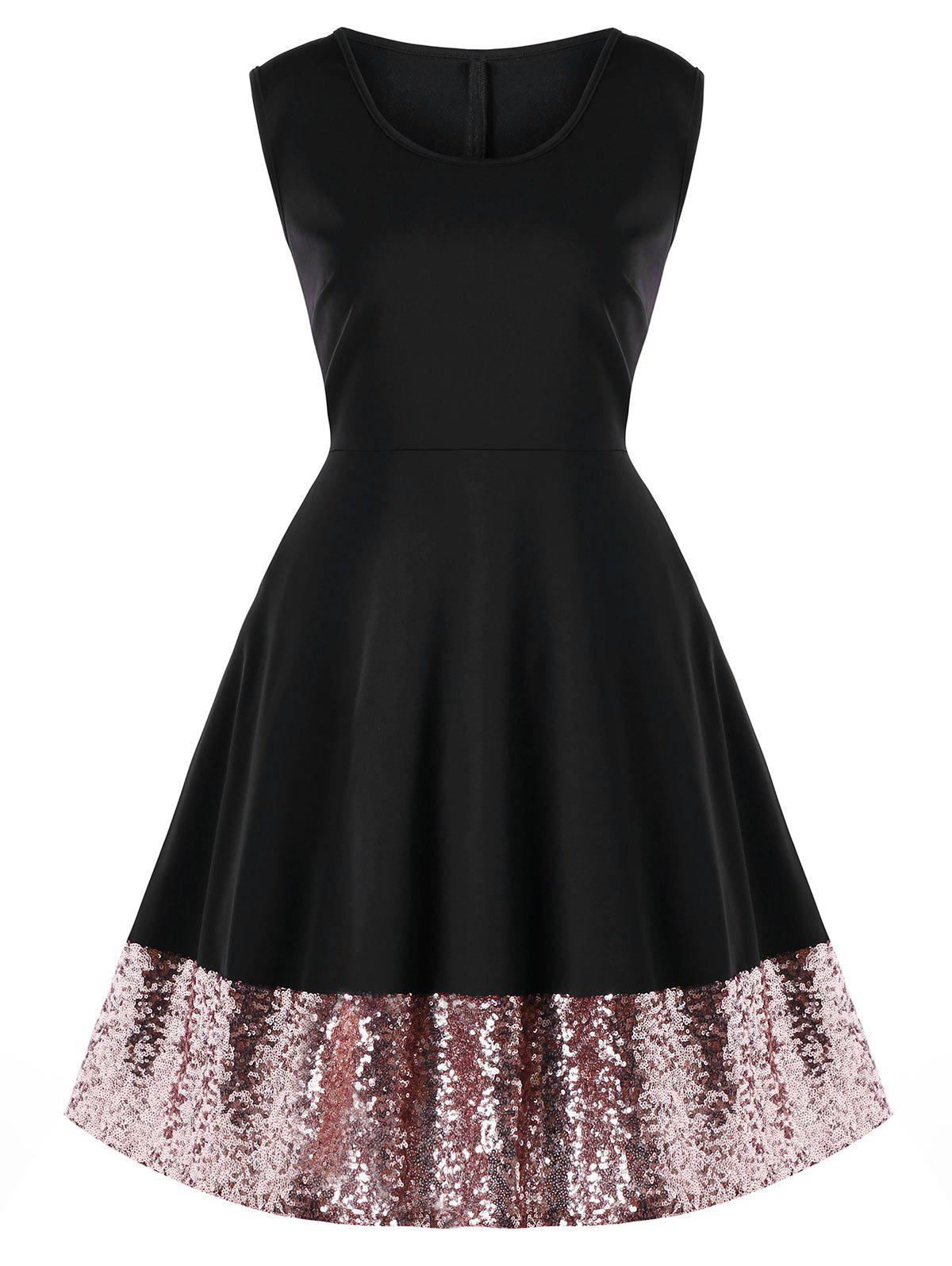 Plus Size Sequin Hem Party Dress - BLACK XL