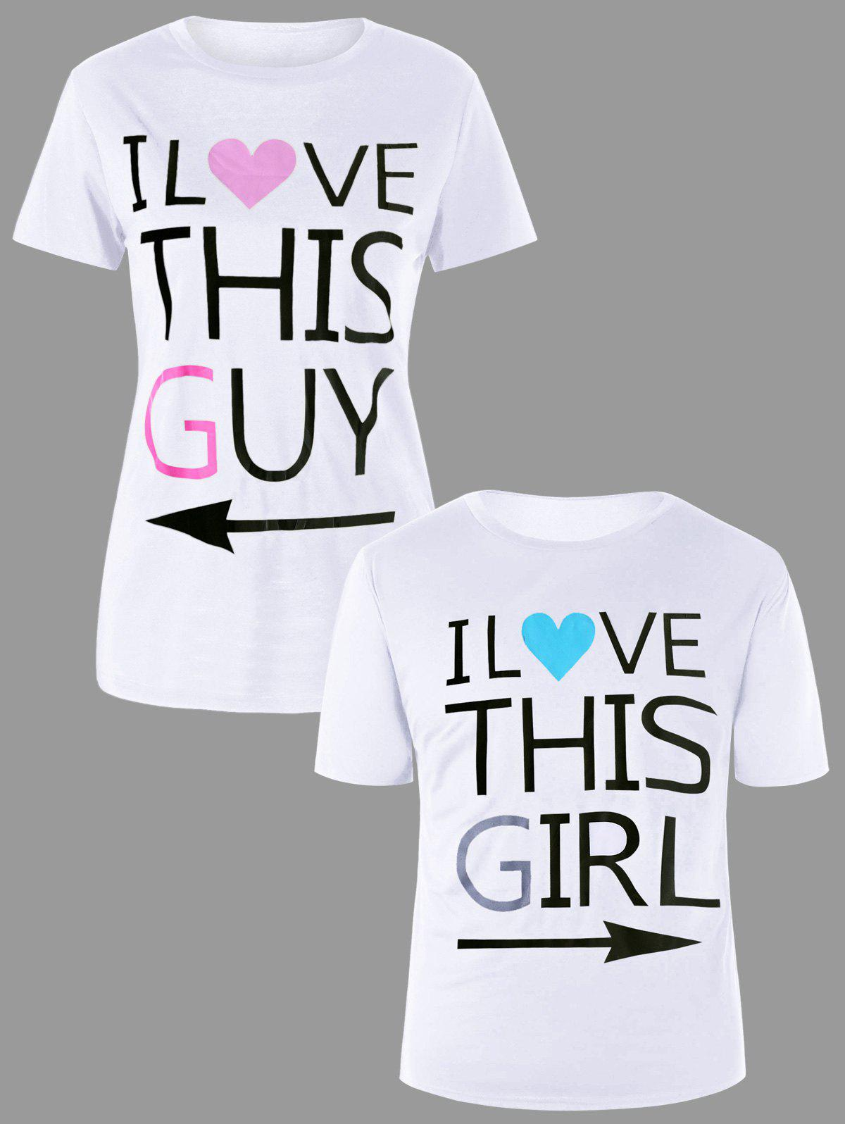Letter Print Matching Couple Tee - WHITE MEN XL