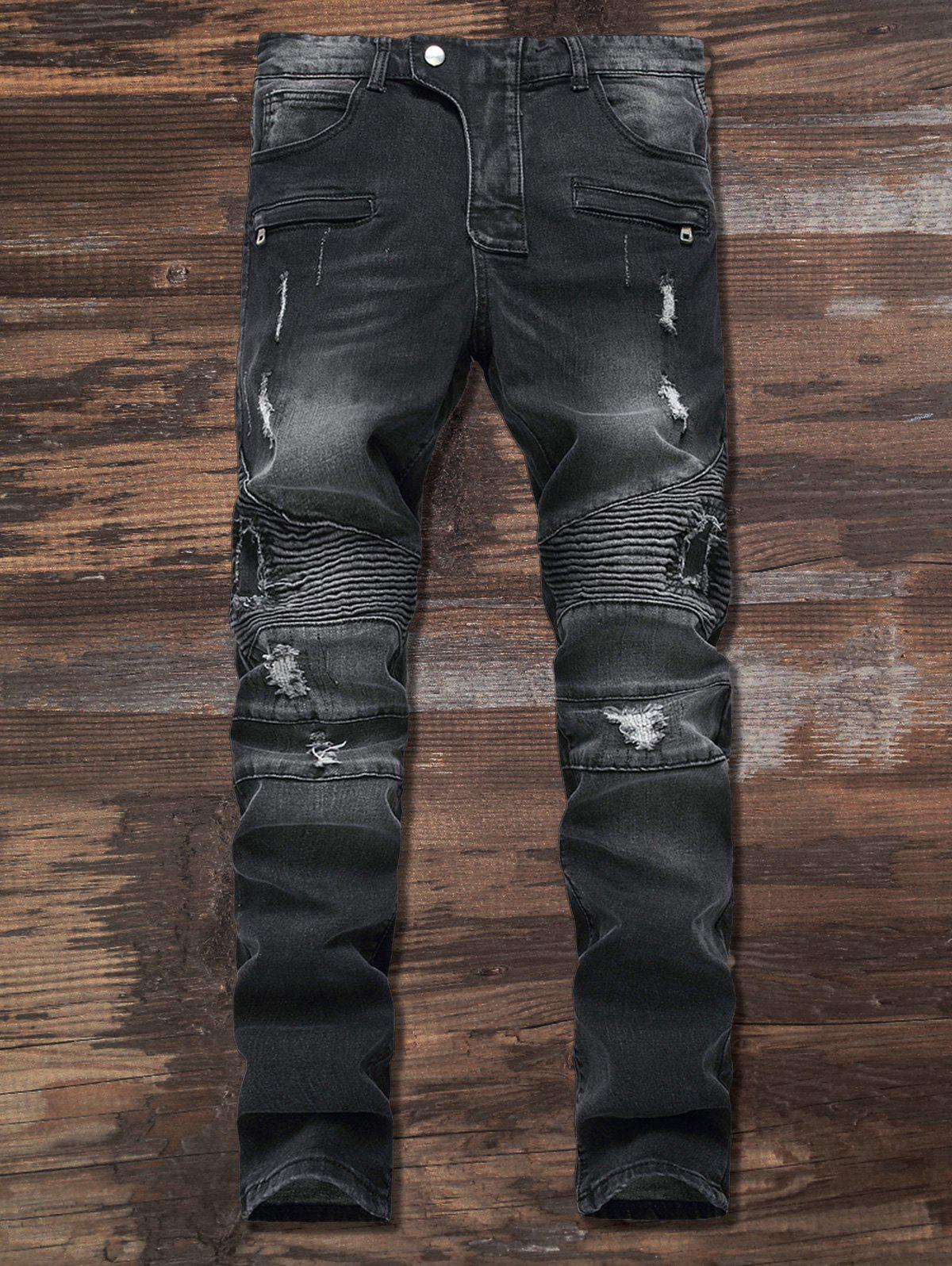 Zip Frayed Ripped Moto Jeans frayed ripped zip fly cuffed jeans