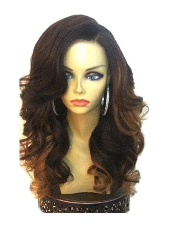 Long Colormix Side Parting Loose Wave Synthetic Wig - DARK BROWN OMBRE