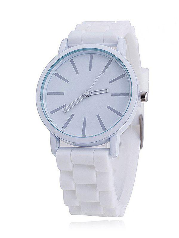 Quartz Silica Gel Strap Casual Watch - WHITE