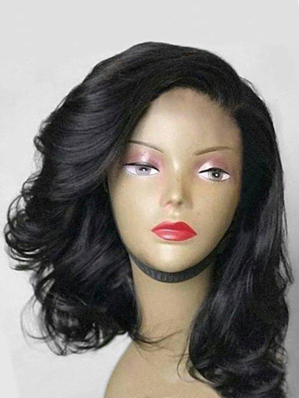 Medium Side Parting Synthetic Wavy Wig - BLACK