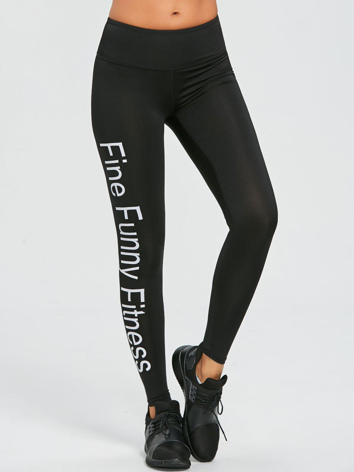 Words Print Exercise Leggings - BLACK S
