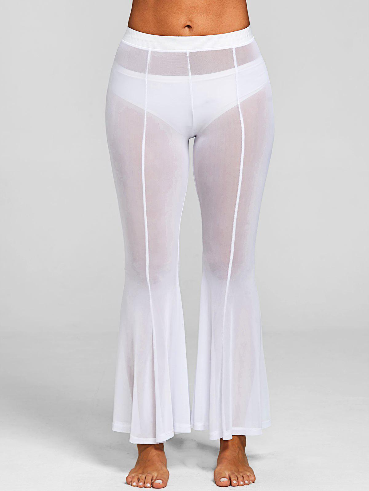 See Through Long Cover-up Pants - WHITE M