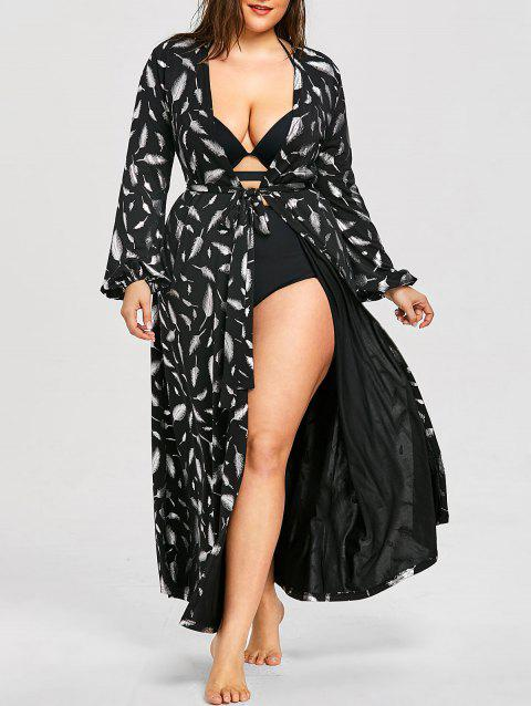 Plus Size Long Sleeve Flowy Maxi Cover Up - BLACK XL