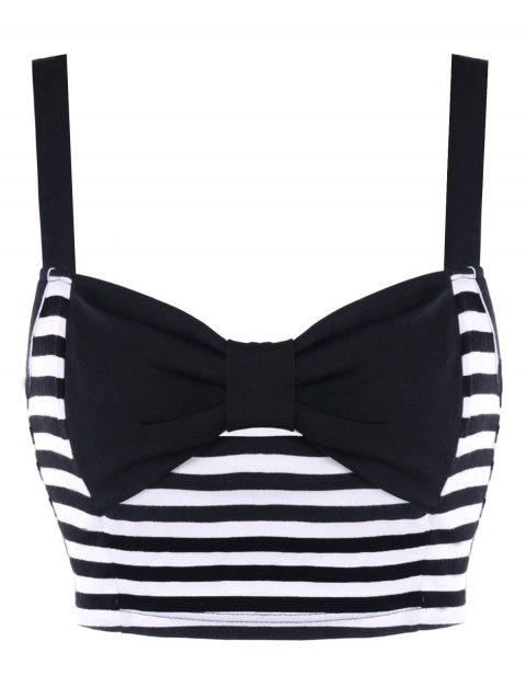 Striped Bowknot Crop Tank Top - BLACK WHITE L