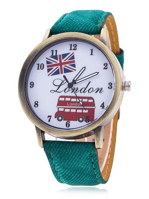 London Face Faux Leather Number Watch - GREEN