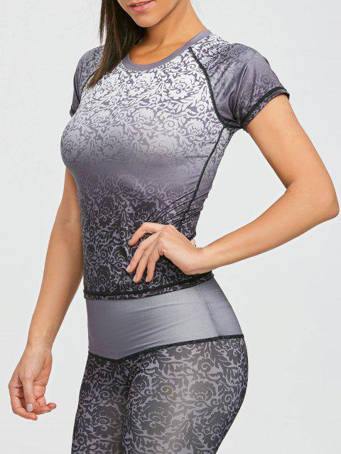 Ombre Brocade Print Raglan Sweat Top - GREY/WHITE XL