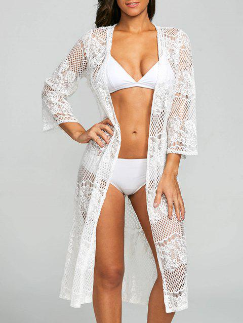 25fd5bba1c 41% OFF] 2019 Lace Sheer Kimono Beach Cover Up In WHITE | DressLily
