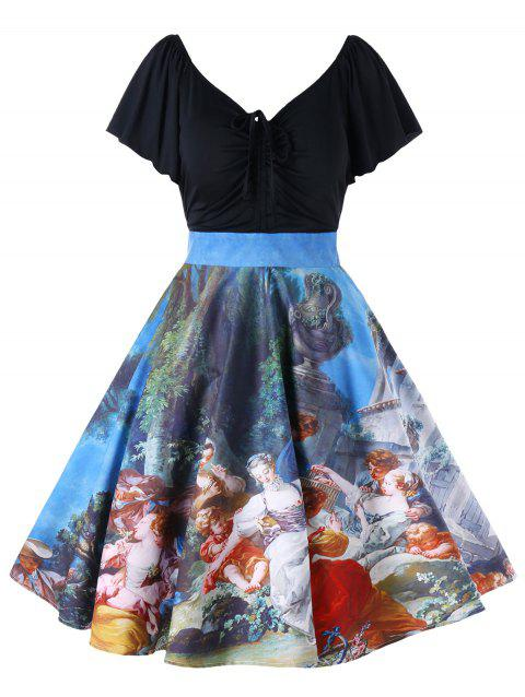 Plus Size Painting Butterfly Sleeve Vintage Dress - COLORMIX 3XL