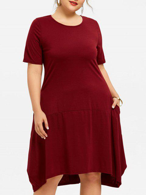 2018 Short Sleeve Plus Size Asymmetrical Dress Wine Red Xl In Casual