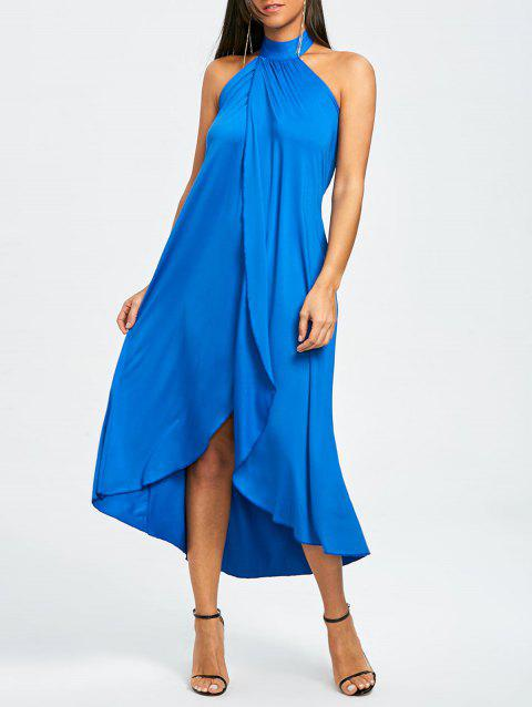 Backless Slit Halter Beach Cover-up Dress - BLUE ONE SIZE