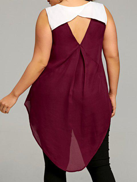 Plus Size Two Tone Keyhole Back Blouse - WINE RED XL