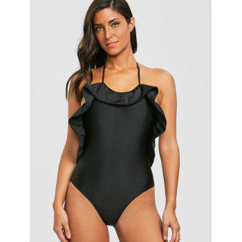 Ruffle Trim Backless High Cut Swimsuit - BLACK M