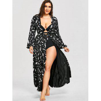 Plus Size Long Sleeve Flowy Maxi Cover Up - BLACK 2XL