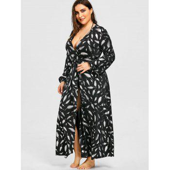 Plus Size Long Sleeve Flowy Maxi Cover Up - BLACK 5XL