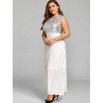 Paillettes taille plus robe de cocktail maxi - Blanc 3XL